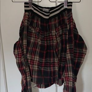Flannel skirt that ties at the front elastic waist
